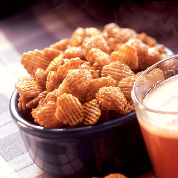 This cereal snack mix recipe with brown sugar coating is sweet and crunchy.