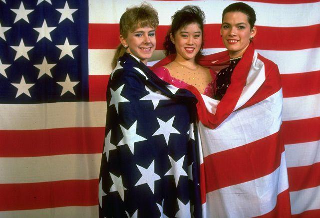 U.S. skaters Tonya Harding, Kristi Yamaguchi and Nancy Kerrigan
