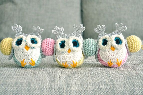 Hey, I found this really awesome Etsy listing at https://www.etsy.com/listing/193814620/crochet-pram-mobile-with-owls-baby-toy