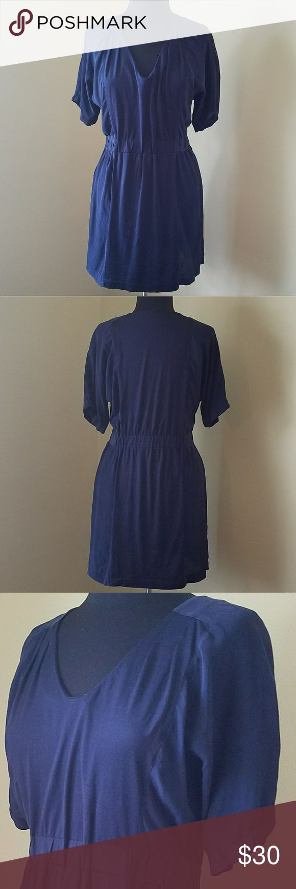 J Crew, Med, Navy Silk Panel Dress Pefect work to play dress!  Great condition. Gently used.   Navy silk panel dress with 3/4 sleeves and feminine pleating from waist.  Minor loose threading at front pleats as shown in last photo. j crew Dresses Midi