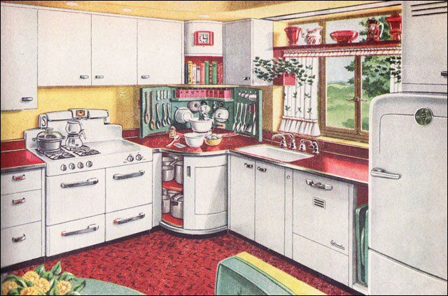 "This ad for a ""Mixing Corner Kitchen"" was published in American Home magazine. Red, green, yellow, and crisp white steel cabinetry was a classic color combo. The steel cabinetry was big during the post-War years as companies retooled to meet the needs for kitchen cabinets instead of machine gun turrets.    So cheery!  The  mixing corner is nifty-neato!"