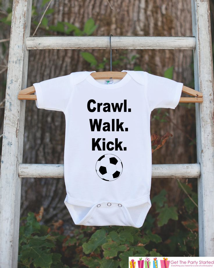 Newborn Soccer Outfit - Novelty Newborn Baby Shower Gift - Crawl. Walk. Kick. Baby Humerous Onepiece - Soccer Shirt - Soccer Ball Bodysuit