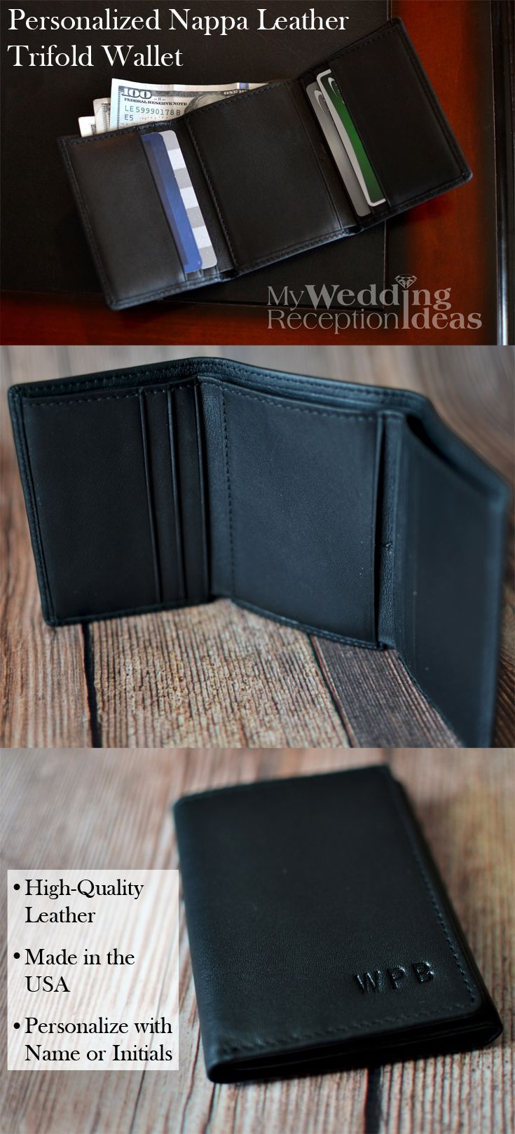 A traditional gift you can't go wrong with, a trifold wallet personalized with your best man or groomsman's initials or name is a sure winner he can use every day. Whether searching for the perfect gift for your dad, brother, best friend or any man in your wedding party, a hand-made leather wallet made in the U.S.A. will make everyone on your gift list smile. This wallet can be ordered at http://myweddingreceptionideas.com/personalized_long_nappa_leather_trifold_wallets.asp