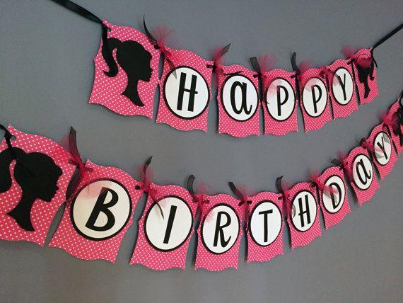 Bandiera di compleanno ragazze | Barbie ha ispirato | Ragazze Barbie Doll decorazioni | Rosa bianco e nero decorazioni