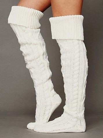 Cable knit thigh hi socks