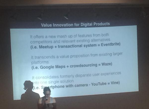 Anita Y Cheng @anitaycheng  Aug 15 Value innovation can be thought of as mashups. -@JaimeRLevy @socaluxcamp
