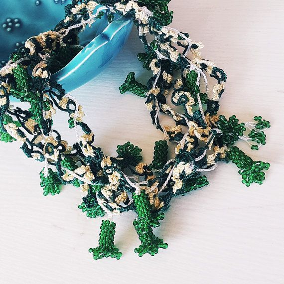 Crochet necklace Oya necklace Green beaded necklace by eygem