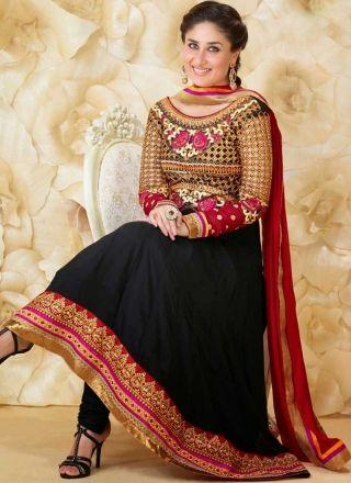 Kareena Kapoor Black Red Embroidery Work Georgette Designer Anarkali Suit http://www.angelnx.com/Salwar-Kameez/Anarkali-Suits