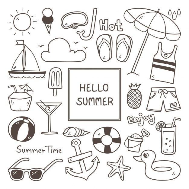 Summer icon set Free Vector