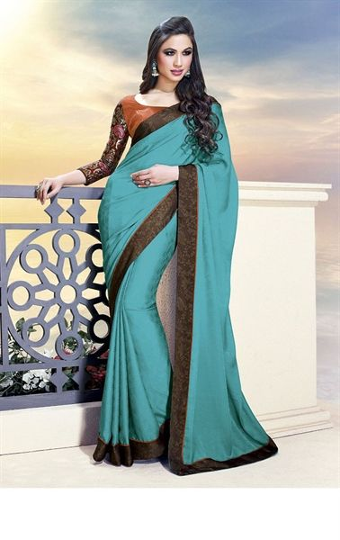 Picture of Premium Trela Green Party Wear Sarees Online Shopping
