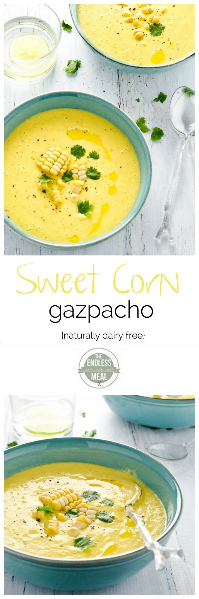 This delicious Sweet Corn Gazpacho is the perfect summertime soup :: theendlessmeal.com