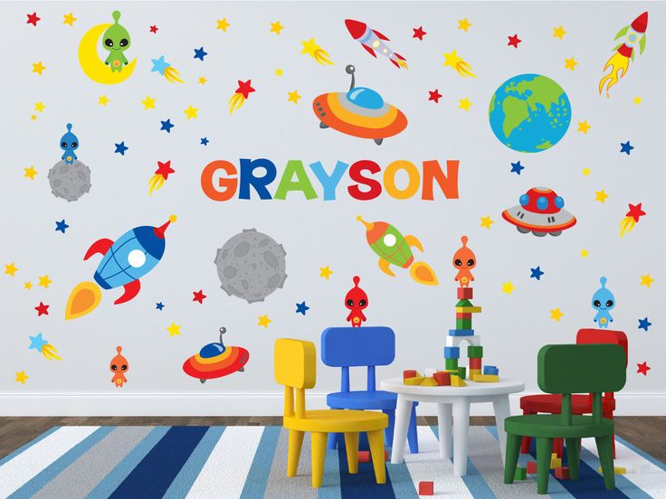 Space Theme Wall Decals - Outer Space Room - Name Wall Decal - Rocket Wall Decals - Boys Room Decals - Space Theme Nursery Decor by YendoPrint on Etsy https://www.etsy.com/listing/216896527/space-theme-wall-decals-outer-space-room