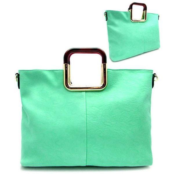Mint Green Top Handle Tortoise Satchel Shopper Tote (910 ARS) ❤ liked on Polyvore featuring bags, handbags, tote bags, mint green tote bag, shopper tote, green satchel, green tote and satchel tote