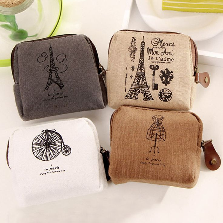 Save and share this pin if you love this Ladies Retro Paris Canvas Small Zipper Coin Purse Key Pouch. FREE Shipping Worldwide! Only $4.99