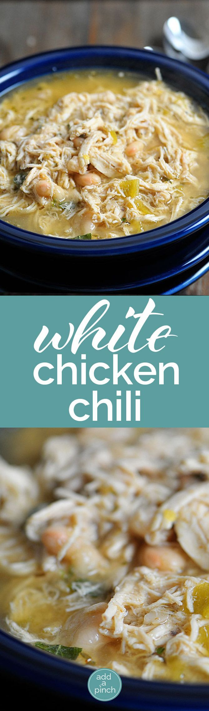 White Chicken Chili makes a delicious meal full of spicy chili flavor, white beans and chicken. You'll love this easy White Chicken Chili recipe. // http://addapinch.com