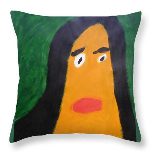 Throw Pillow featuring the painting Portrait Of Woman With Hair Loose 2015 - After Vincent Van Gogh by Patrick Francis