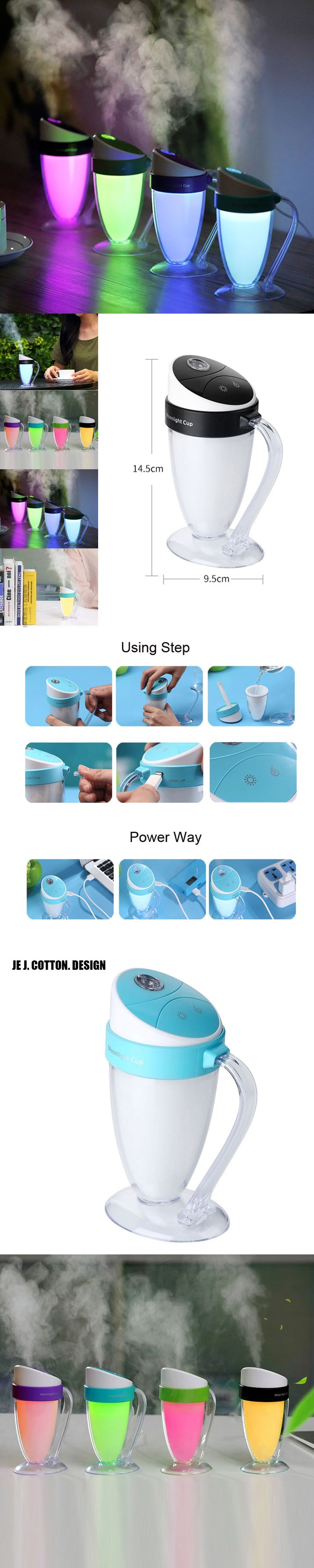 Best Beer Cup Air Humidifiers for Home Ultrasonic Humidifier Mist Maker with LED Night Light Air Freshener Aromatherapy Diffuser