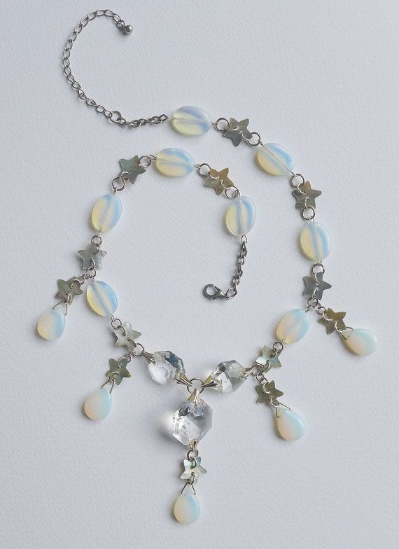 Moon and Stars Opalite Statement Necklace. Sea opal by Skullbag, £37.99