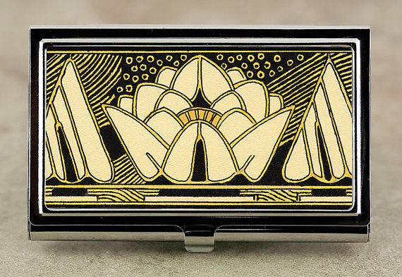 Art Deco Business Card Case in Black and Gold Lily