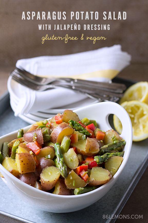 Asparagus Potato Salad with Jalapeño Dressing #vegan #gluten-free #recipe