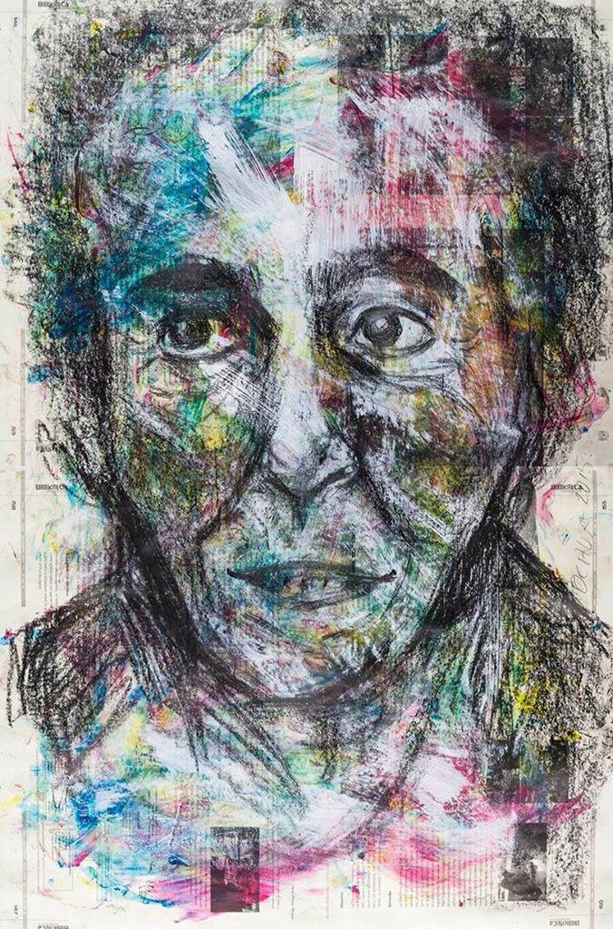 #Retrato de Helena Beristáin por Alheli Ochoa Espinosa. Grafito, acrílico y tintas de serigrafía sobre papel. Primer lugar. #UNAM #AutoresUNAM