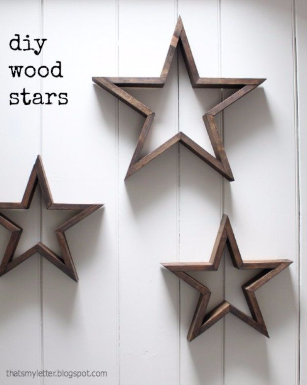 DIY Living Room Decor Ideas - DIY Wood Stars - Cool Modern, Rustic and Creative Home Decor - Coffee Tables, Wall Art, Rugs, Pillows and Chairs. Step by Step Tutorials and Instructions http://diyjoy.com/diy-living-room-decor-ideas