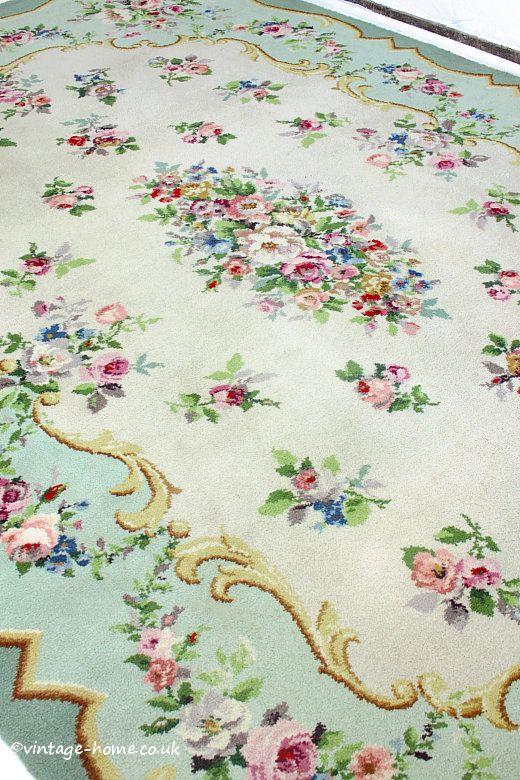 Vintage Home Shop - Stunning Vintage Rose Floral Garland Carpet: www.vintage-home.co.uk
