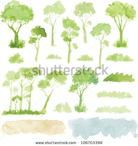 stock vector : Watercolor style vector illustration of a collection of trees…