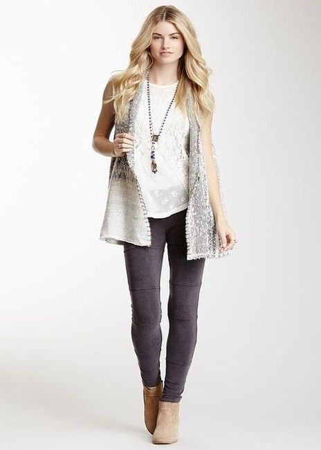 Free People Over-Sized Chevron Knit Vest Ivory/Gray/Tan S-M