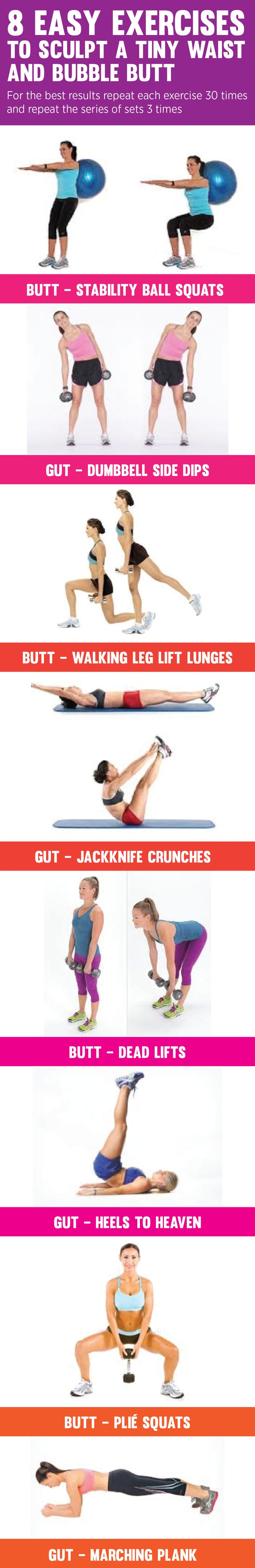 8 Easy Exercises to Sculpt a Tiny Waist and Bubble Butt