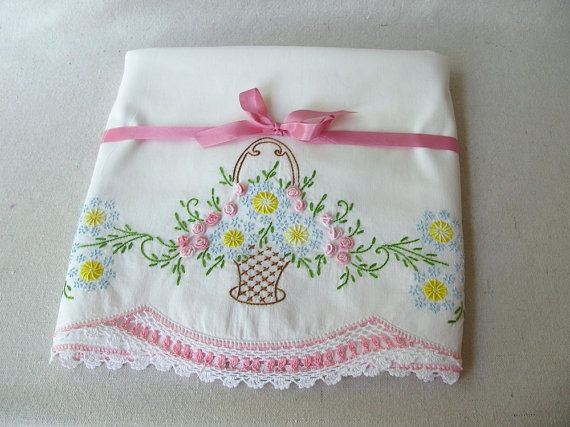 Vintage Embroidered Pillowcases by PassedBy on Etsy