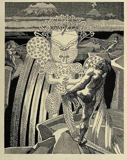 Wilhelm Dittmer - Te Tohunga 1907 - Maui slows the Sun