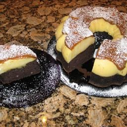 Choco-Flan Cake on BigOven: A wonderful dessert that marries a moist chocolate cake with a custard flan topping; all in one pan.  Delicioso!!!!!!