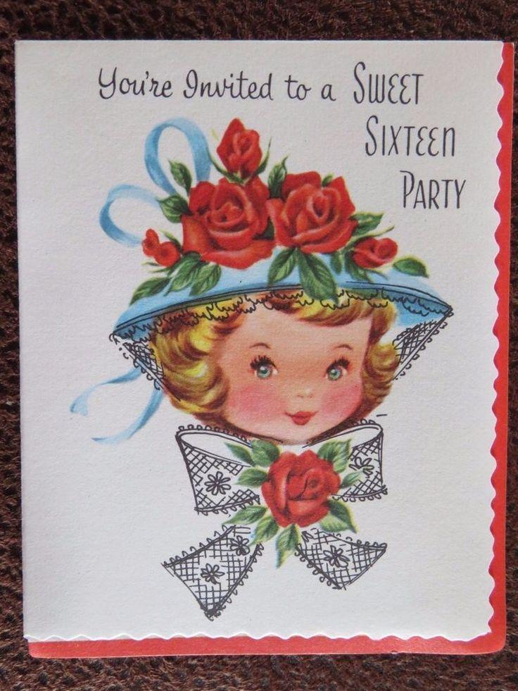 Vintage Sweet 16 Birthday Card UNUSED Invitation Pretty Girl Fancy Dress Hat