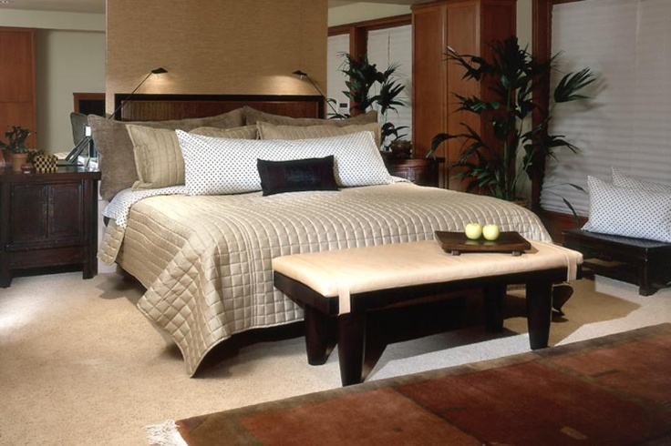 Master bedroom with an Asian influenced design.