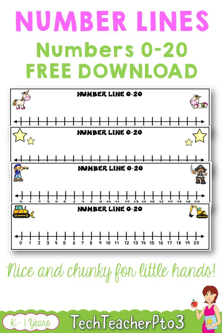 Number Lines 0 To 20 Unicorns Stars Construction Pirates Free Download Number Line Numbers Kindergarten Math Resources