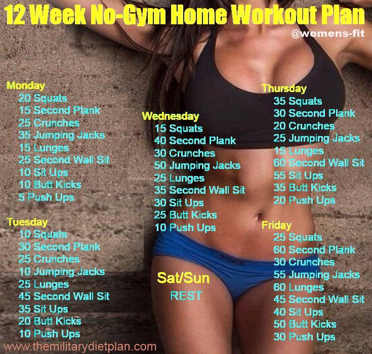 If you want to lose weight, gain muscle or get fit check out our men's and women's workout plans for you, that can be done at home with minimum equipment. Here are amusing workout plans are easy to follow, that you can do in addition to 12 week home workout. Monday 20 Squats 15 sec Plank 25 Crunches 35 Jumping Jacks 15 Lunges 25 sec Wall Sit 10 Sit ups 10 Butt Kicks 5 Push ups Tuesday 10 Squats 30 sec Plank 25 Crunches 10 Jumping Jacks 25 Lunges 45 sec Wall Sit 35 Sit ups 20 Butt Kicks..