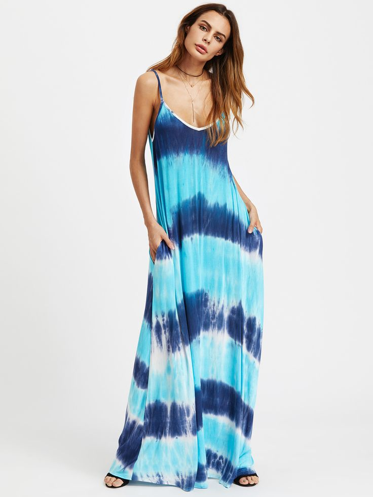 Blue Tie Dye Double V-Neck Cami Maxi Dress