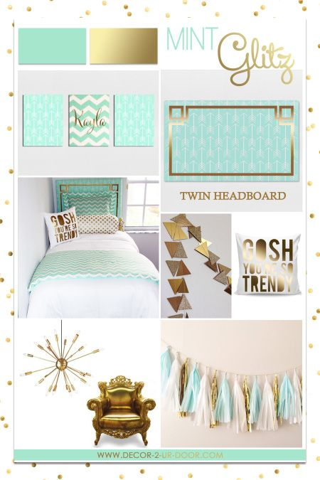 Mint and Gold Teen Room Decorating. Trendy teen room design. Designer headboard, custom duvet, sham, decorative pillows, bed skirt, exclusive bed scarf, window panels, wall decor and more. Custom monogramming available too!! Mint glitz is this years biggest trend in teen decor. Available in all bedding sizes: twin, queen, king. All orders are custom made in the USA.