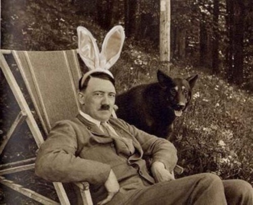 Oh myyyyy... Despite popular belief, Hitler did have a sense of humor. A bizarre sense of humor, but a sense of humor nonetheless...well the dog thinks he's funny anyway