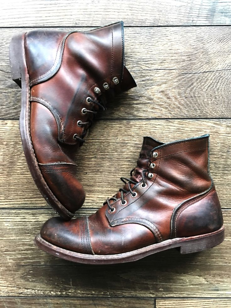 Red Wing Iron Ranger Boots. I've had these  for 7 years and they  look better every time I wear them.