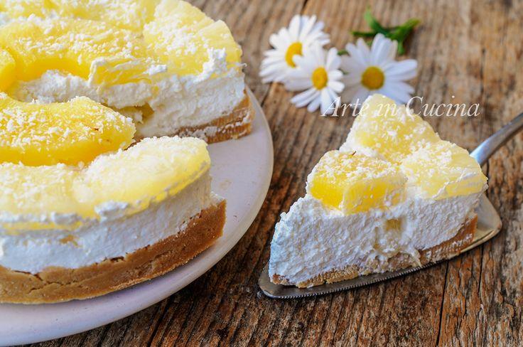 Torta+fredda+ananas+e+cocco+ricetta+facile