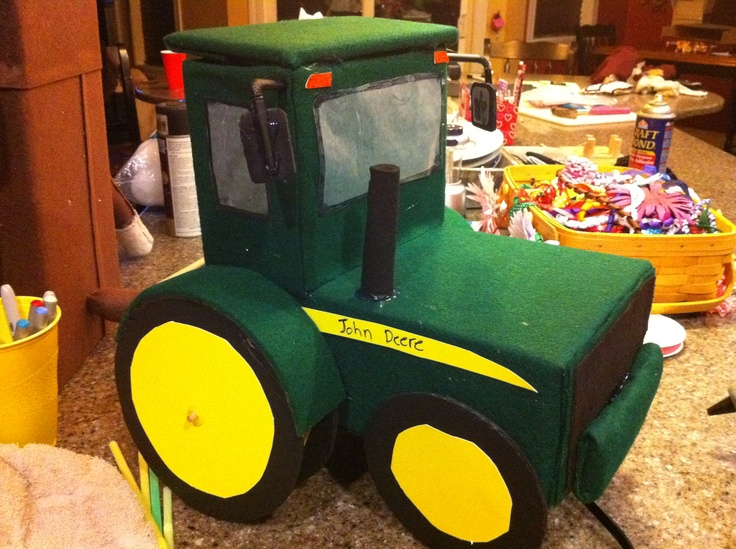 My 2nd graders John Deere Tractor Valentine box that we made last year!  You put the Valentine in the top of the cab of the tractor!  Turned out Super Cute!