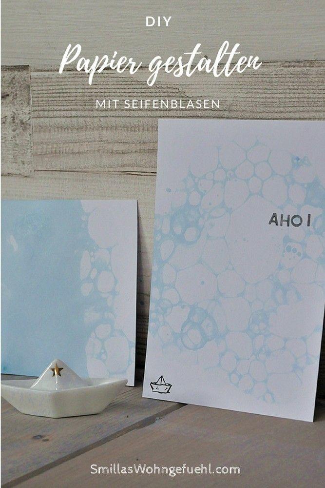 Papier gestalten mit Seifenblasen. So entstehen ganz zarte, wunderschöne Muster!