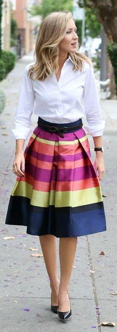 bright striped midi skirt, classic white dress shirt, black pointy toe pumps, braided belt + watch {anthropologie, brooks brothers, sjp collection, gap, daniel wellington}