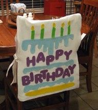 Birthday chair cover. Love the idea of making students feel special on their birthdays :)