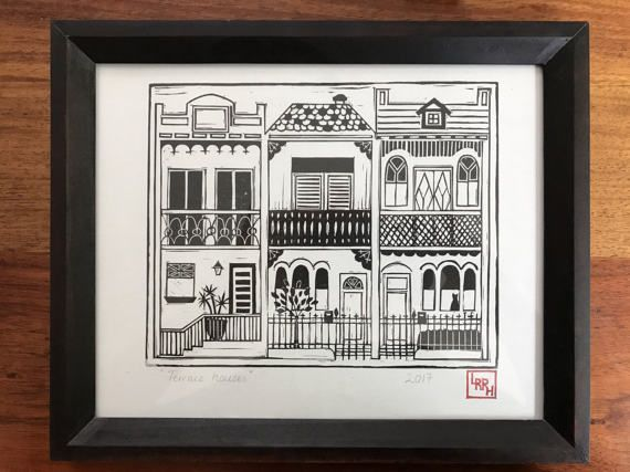 Cute print full of detail, showcasing the often quirky characters of the iconic Sydney terrace houses
