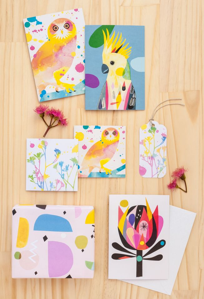 Cards and wrapping paper by Earth Greetings #AutumnWinter2016 #AW2016 #recycled #earthfriendlygreetingcards #australianmadegreetingcards #ecofriendlycards #inaluxe #wrappingpaper #bird