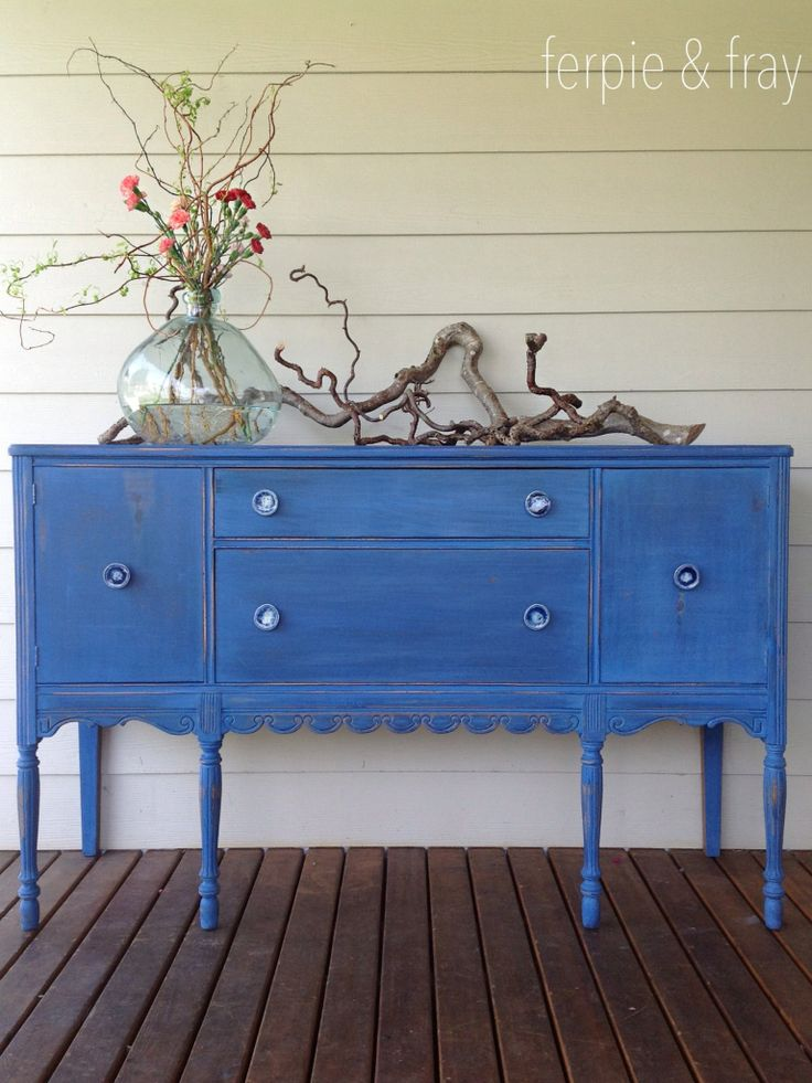 """Dresser painted by Ferpie and Fray in Old Fashioned Milk Paint Company """"Federal Blue"""""""