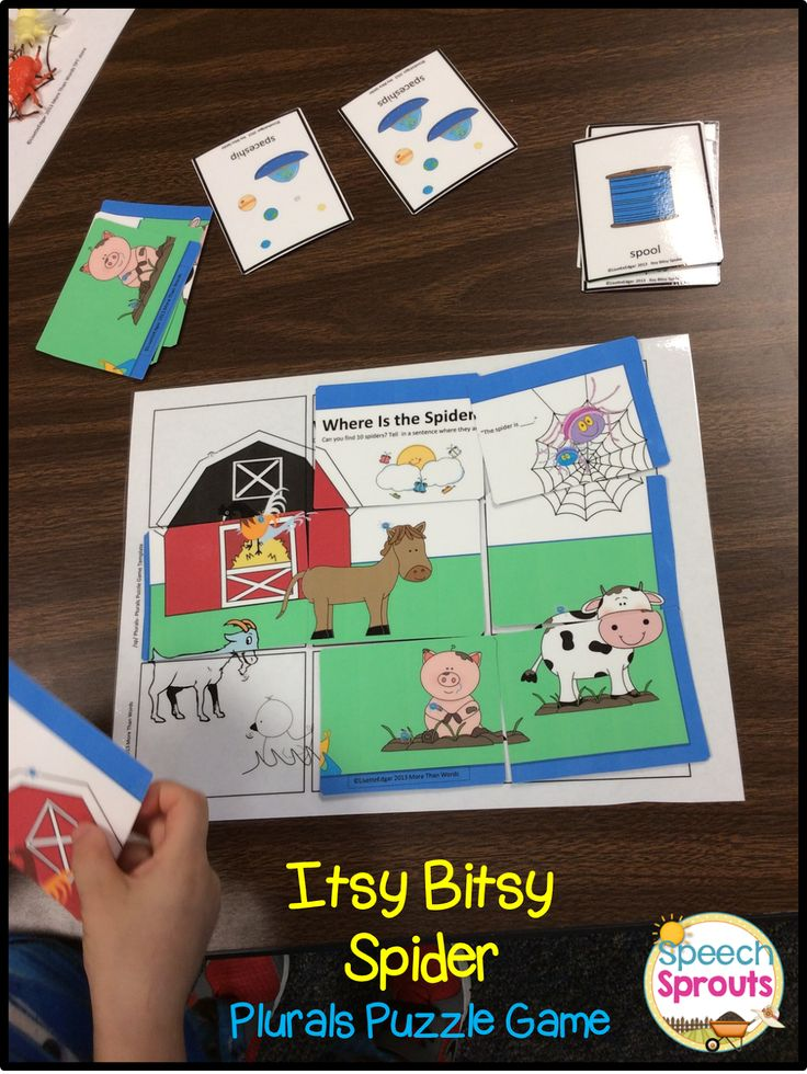 Day 2: More Spider Fun! Plurals Puzzle game- initial nad final s-blends and plural endings. By Speech Sprouts: Itsy Bitsy Spider Unit.$